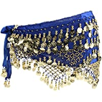 FITYLE Glitter Gold Coins Belly Dance Dancer Costume Hip Scarf Belt Waist Wrap Skirt