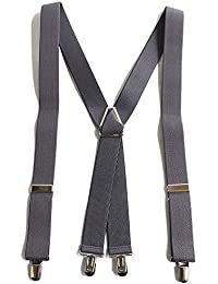 QUINTETTO 太型 30mm X型 ベーシック無地 サスペンダー 吊りバンド ズボン吊り メンズ レディース ブレイシーズ 03-0133 (GREY(グレー))