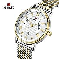 HWCOO 美しい時計 メッシュベルトメンズカジュアルウォッチスリムクォーツ大型カレンダーウィンドウ (Color : 4)