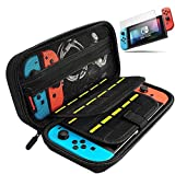 Nintendo Switch ケース 任天堂スイッチ ニンテンドースイッチ 保護ガラスフィルムとJoy-Con専用カバー 外出や旅行用キャリングケース ナイロン素材 防塵、防汚、耐衝撃 ブラック Wloomm NS0001VM