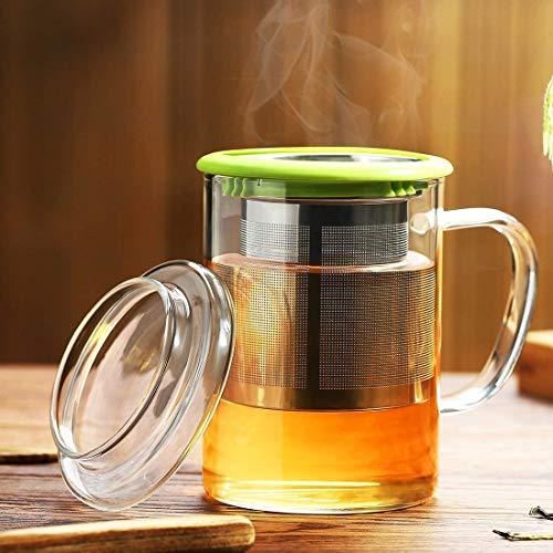 耐熱ガラスマグカップ 400ml 高品質で丈夫なステンレス鋼茶こし 透明なガラスふた 付き 持ちやすい (グリーン, 400ML)