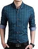 (ドートル オトゥール) D'autres hauteurs 5色 3サイズ メンズ ファッション ビジネス カジュアル チェック 柄 長袖 襟 付き ワイ Y シャツ ボタン ダウン 大きい サイズ (06グリーンXL)