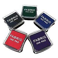 布用スタンプ台 インクパッド ファブリックインクパッドスタンプセット、スタンプ、木、ファブリックと紙表面(5パック)のための5色の非有毒な顔料インクパッド