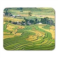マウスパッドグリーン農業段々畑Mu Cang Chai District Yenマウスパッド、ノートブック、デスクトップコンピューターマットオフィス用品10x12インチ