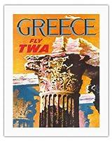 ギリシャ - TWA (トランス・ワールド航空)で飛ぶ - コリント式スタイルギリシャコラム - ビンテージな航空会社のポスター によって作成された デイヴィッド・クライン c.1959 - キャンバスアート - 51cm x 66cm キャンバスアート(ロール)