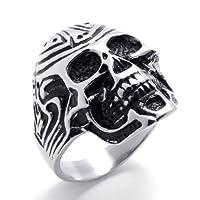 Aooazジュエリー メンズリング ステンレス指輪 クラシックスカル髑髏デザイン シルバー、ブラック アクセサリー 日本サイズ28号(USサイズ13号)
