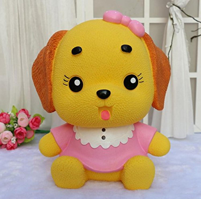 マネー バンク ドレスパピーピギーバンクホームデコレーション誕生日プレゼント(ピンクの服イエロードッグ)