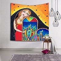 現代の装飾漫画インドの女性スタイル壁掛けタペストリーポリエステル生地壁家の装飾用リビングルーム寝室のソファの背景としてビーチタオルショールヨガマット,002,150×229cm