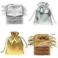 FineInno クリスマス 巾着袋 100枚セット お菓子袋 キャンディー袋 キラキラ 金色 銀色 かわいい (9*12cm 金色50枚+銀色50枚)
