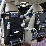 HCMAX 2個 車用シートバックポケット レザー製 後部座席 収納バッグ カー 折り畳式 車用 収納ポケット 大容量 多機能 車内整理 PU素材 iPad mini収納ポケット汎用 小物入れ 取り付け簡単