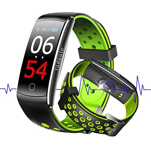 スマートウォッチ 血圧計 心拍計 歩数計 スマートブレスレット 活動量計 カロリー 自動睡眠監視 健康管理 SMS/Facebook/Line/着信通知・拒否 タッチ操作 カラースクリーン 大字幕 IP68防水 iPhone&Android 対応 日本語対応 smart watch (グリーン)