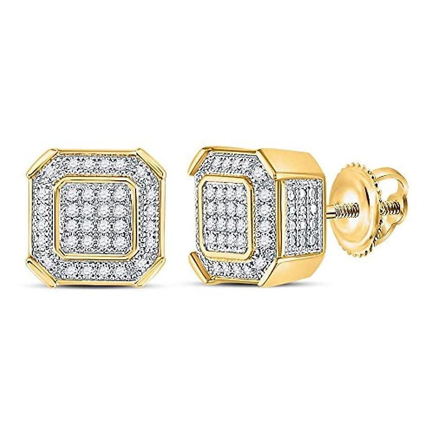 混合スクリュー百年10kt イエローゴールド メンズ ラウンドダイヤモンド スクエア クラスタッド ピアス 1/5 Cttw