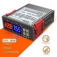 DiyStudio デジタル 温度調節器 湿度調節器 DC 24V STC-3028 センサー付き 温度コントローラ ダブルプローブ -55℃~+120℃