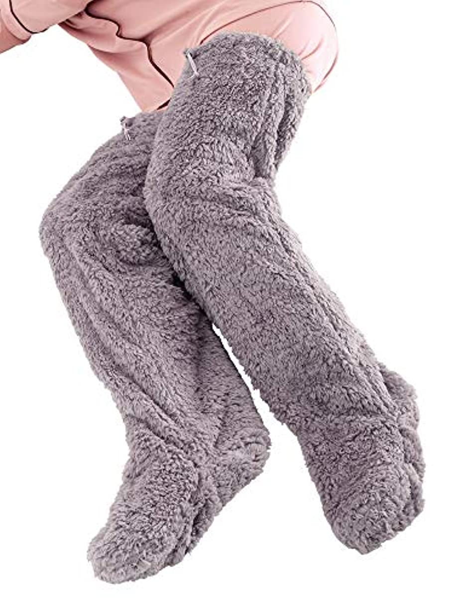ベーコン個人的な偽極暖 足が出せるロングカバー ストッパー付き グレー?Lサイズ