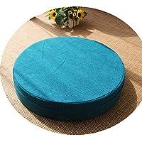 クッション丸い畳綿のリネンアート布団和式洗濯クッション瞑想ヨガマット,湖蓝色,直径40cm厚10cm