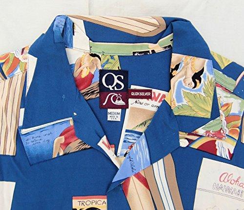 【クイックシルバー QUIKSILVER】 古着レーヨン・アロハシャツ Mサイズ マトソンライン メニュー柄 マッキントッシュ ハワイ サーフィン