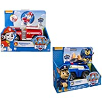 Nickelodeon, Paw Patrol - Chase's Cruiser, Marshall's Fire Fightin' Truck - 2 Vehicle and Figure sets bundle