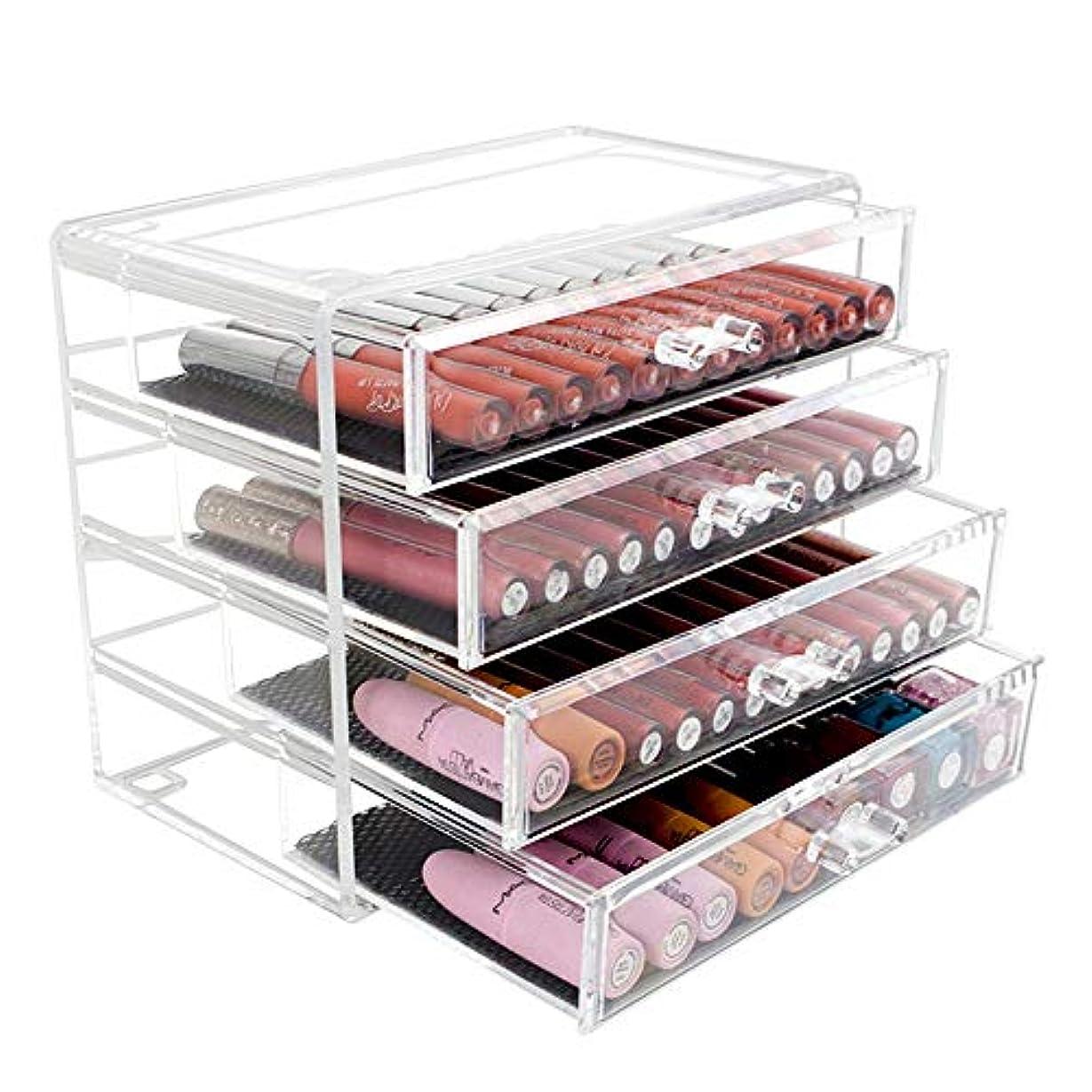 リングバッククロス株式整理簡単 シンプルなメイクアップジュエリー化粧品オーガナイザー4層メイクアップオーガナイザーディスプレイバニティケーススタンド (Color : Clear, Size : 23.7*13.5*19.5CM)