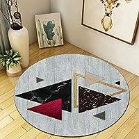 Zxt北欧ラウンドカーペット3d幾何学模様カーペット現代の家のリビングルームのコーヒーテーブルの寝室ベッドサイドコンピュータの椅子パッド家の装飾滑り止めカーペット (色 : F f, サイズ さいず : 200CM)