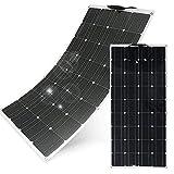 @NSS 【2枚セット】フレキシブル ソーラーパネル 100W 超薄型 MC4延長ケーブル 専用工具セット 高変換効率 18V-12V アメリカメーカーセル採用 単結晶シリコンパネル / 200W / 日本語マニュアル付属/太陽光発電 / ソーラーチャージャー