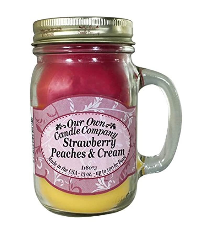ねじれ文言仲間、同僚Our Own Candle Company Stawberry, Peaches, and Cream Scented 380ml Mason Jar Candle By
