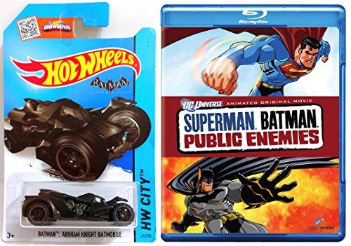 Superman/Batman: Public Enemies [Blu-ray]& Hot Wheels Batmobile car DVD Animated Cartoon Movie Super Hero Set