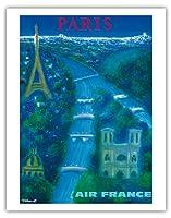 パリ - セーヌ川、エッフェル塔、ノートルダム - エアフランス - ビンテージな航空会社のポスター によって作成された ベルナール・ヴィユモ c.1963 - アートポスター - 28cm x 36cm