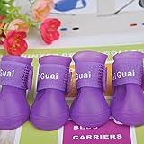 LexBlue(TM)の新しいカラフルなポータブルペットの犬の靴防水ブーツレインシューズ