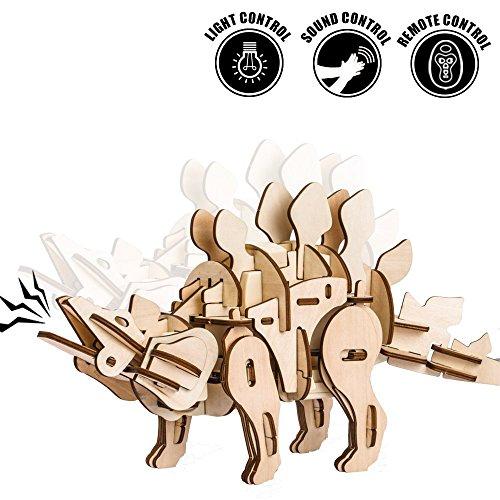 Robotime 3D立体パズル 2018最新版 木製 音声制御 光制御 動く 恐竜 子供 男の子 女の子 プレゼント おもちゃ (Stegosaurus)