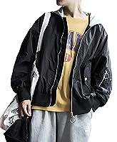PIITE メンズ ジャケット 春 秋 コート オーバー アウター カップル カジュアル ゆったり かっこいい 長袖 薄手 無地黒PT9