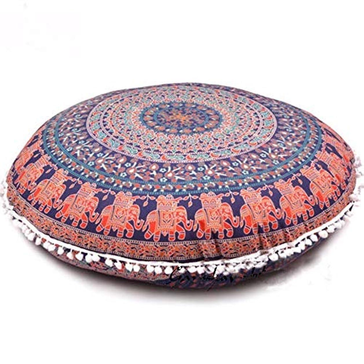 マナービルダー黒LIFE 2017 カラフルな曼荼羅床枕オットマンラウンドボヘミアン瞑想クッション枕プーフ クッション 椅子
