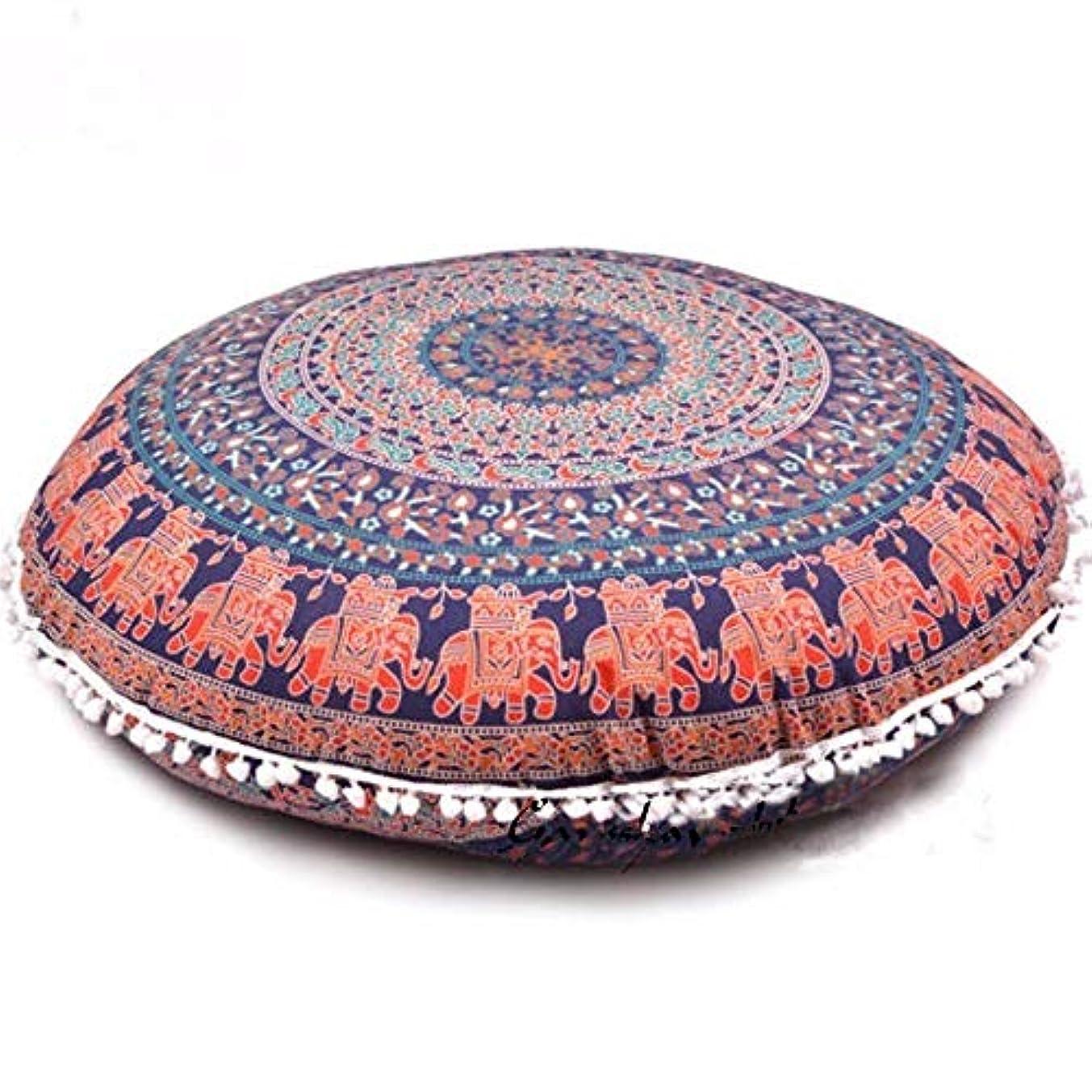 アルプス川出発するLIFE2017 カラフルな曼荼羅床枕オットマンラウンドボヘミアン瞑想クッション枕プーフクッション 椅子