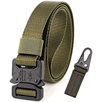 Adjustable Nylon Canvas Belt Breathable Men Waist Belt With High Strength Buckle For Training Running (Color : Green, Size : 125cm)
