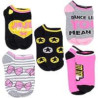 Nickelodeon Little Girls JoJo Siwa 5-Pack No Show Socks, Shoe Size 10-4