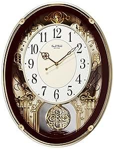 リズム時計 電波掛け時計 スモールワールドプラウド メロディアミューズ付き ブラウンメタリック 4MN523RH06