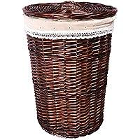 ランドリーバスケットの寝室のリビングルーム籐のブドウの庭風のストレージバスケット ZHANGQIANG (色 : Covered-Brown, サイズ さいず : 42cm*50cm)