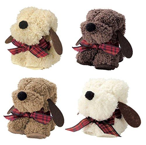もこもこ素材 犬 ワンちゃんモチーフのかわいいハンカチタオル ミニタオル4色セット 個別包装 プチギフト 粗品 景品
