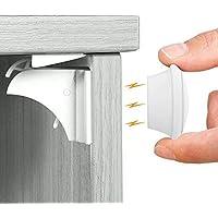 ベビーガード 安全磁気キャビネットロック(10ロック と 2キー と 2固定器)SANSEA 日本語説明書付き ストッパー 引き出し タンス 食器棚など対応 取り付ける簡単 ケガ防止 子供赤ちゃん守る 地震対策 白