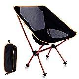 DEIJYUN アウトドア チェア キャンプ 椅子 コンパクトチェア 丈夫アルミ合金&軽量 コンパクト 収納バッグ付き 耐荷重120kg 組み立て簡単 (オレンジ)