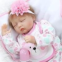 NPK 22インチソフトシリコンRebornベビー人形Lifelike Girl Dolls Sleeping Baby Girl Toy with pinktutuドレス