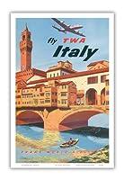 イタリア - TWA (トランス・ワールド航空)で飛ぶ - フィレンツェフィレンツェ - ビンテージな航空会社のポスター によって作成された フランク・ラカノ c.1950s - アートポスター - 31cm x 46cm