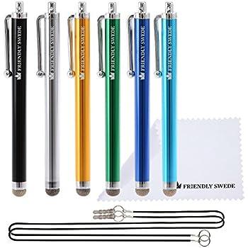 The Friendly Swede 純正品 静電容量性 マイクロニットスタイラスペン 6色 6本組 ストラップ クリーニングクロス付き