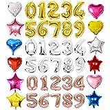 【Poimi-R】数字 アルミ バルーン サイズ約35cm~ 星 ハート 風船 お誕生日 サプライズ イベント ブライダル 装飾に  (シルバー:0)