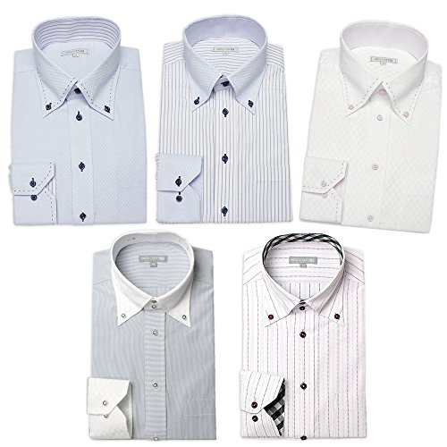 ワイシャツ 5枚セット ドレスシャツ 長袖(トップ芯加工) メンズ Yシャツ カラーシャツ ボタンダウン セット M
