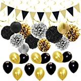 ゴールドブラック飾り パーティー シルバー 男の子 誕生日 100日 退職 卒業 ペーパーボンボン ペーパーボンボン 紙提灯 三角ガーランド 渦巻き バルーン