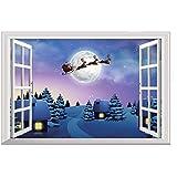 Takarafune ウォールステッカー クリスマス 偽窓 3Dウォールステッカー 立体デザイン 壁紙 シール クリスマスツリー