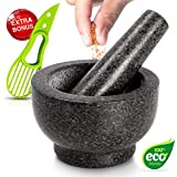 Mortar and Pestle Made of 100% Granite for The Kitchen Make and Serve Dishes Right at The Table Beautifully - Includes Avocado Slicer. (Polished Granite)