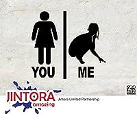 JINTORA ステッカー/カーステッカー - You vs. Me - female comparison - あなた対 私 - 女性の比較 - 100x90mm - JDM/Die cut - 車/ウィンドウ/ラップトップ/ウィンドウ- 黒