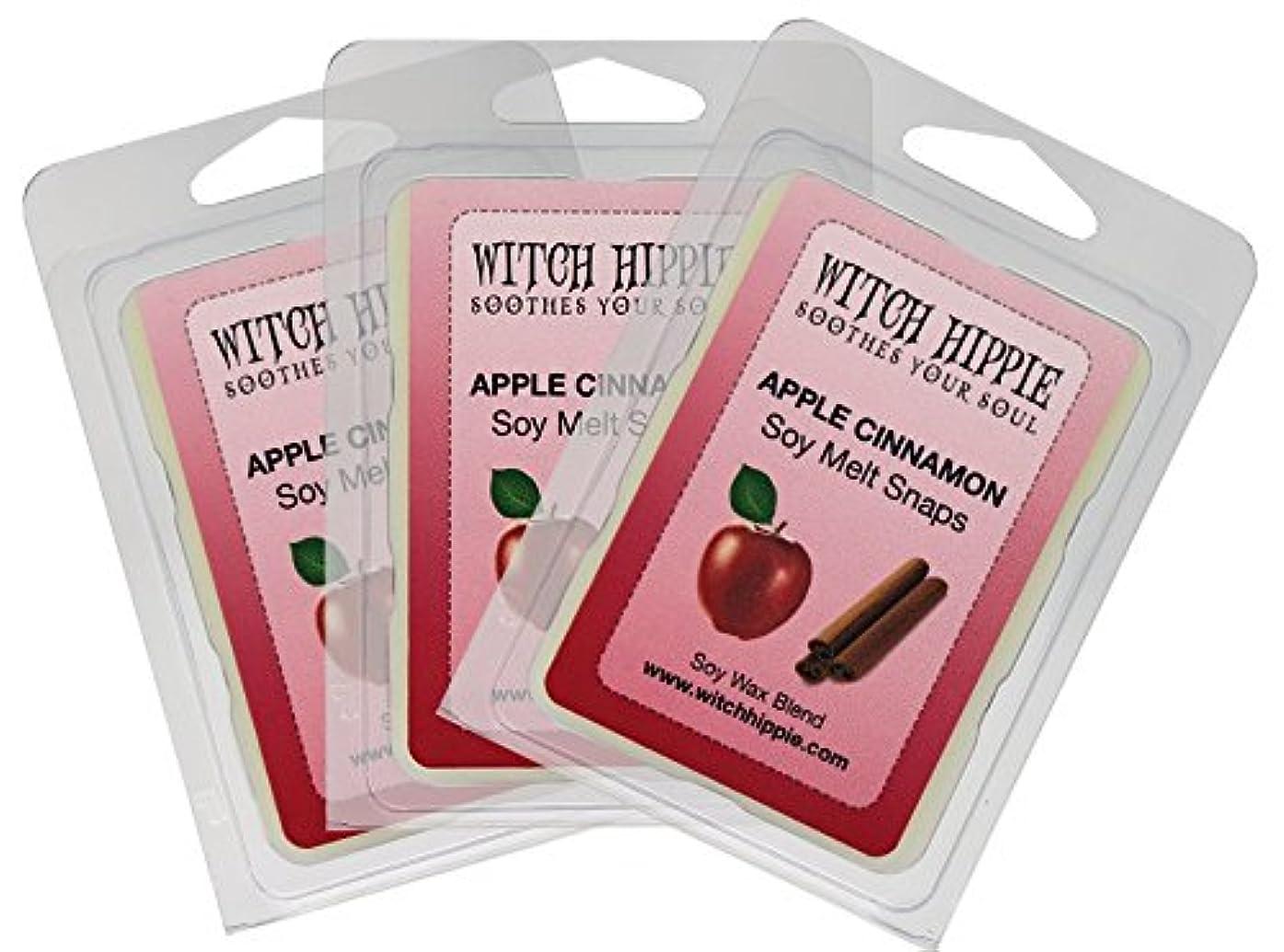 ジョグバンドルキノコアップルシナモンの香り付き芯なしキャンドルタルト 3パック 天然ソイワックスキューブ18個 フレッシュなシナモンスティックのパウダーを散りばめた赤いジューシーなマッキントッシュリンゴの香り