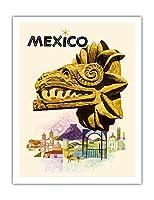メキシコ - ククルカン、羽毛の蛇 - マヤの蛇神 - ビンテージな世界旅行のポスター によって作成された ハワード コスロー  c.1963 - アートポスター - 51cm x 66cm